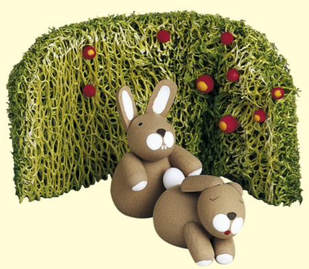 Bunnies With Rose Hedge