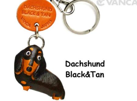 Leather Key Chain – Dachshund Black & Tan