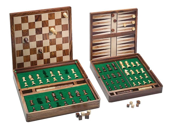 Magnetic Chess & Backgammon Set – Golden Rosewood