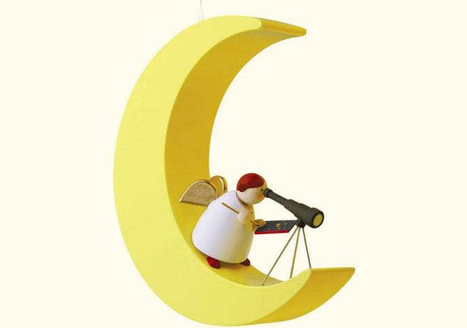 Angel On Moon With Telescope