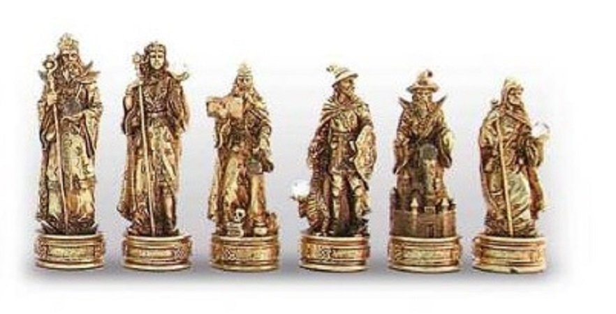 Chess Pieces – Merlino; Gold Silver Plated On Pewter