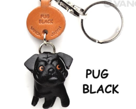 Leather Key Chain – Pug Black